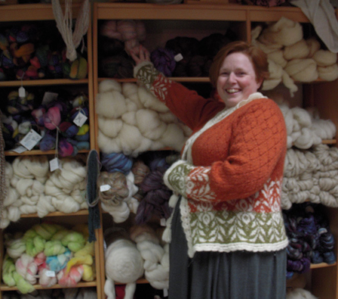 Beth shows off her wall of wool